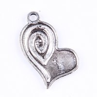 411 - Vintage Charms Heart Love Antique Silver bronze Asymmetric Pendant Fit Bracelets Necklace DIY Metal Jewelry Making