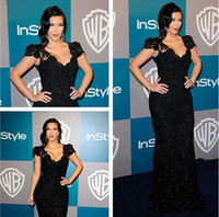 short evening - 2014 kim kardashian Dress Black Mermaid V neck Crtstal Short Sleeve Lace celebrity red carpet Court Train Evening Gowns Prom Dresses H5