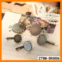 bezel round earrings - Fashion Easy Use Lace French Lever Back Earring Base fit mm round glass Cabochon diy bezel blank