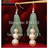 Wholesale Nice Freshwater Pearl Round PEA Pot Princess Green Jade Earring S925 Silver Hook Fashion Jewelry New