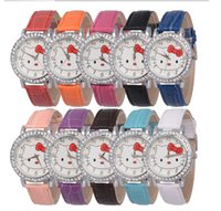 Wholesale DHL Hello Kitty KT Hello Kitty full leather strap watch watch Ms watch girl watches