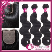 "Cheap J part 3.5""x4"" silk base closure with 3 bundles body wave hair Weave Virgin brazilian Remy hair weft"