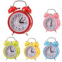 bells alarm clock - Fashion Mini Quartz Alarm Clock Small Double Bell Night Light Children Alarm clock colorful EE