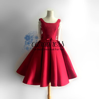 Wholesale New Arrival Red Stain Short Prom Dresses A line Scoop Vintage Women Party Formal Dresses Real Photo Knee Length s Dresses J1220