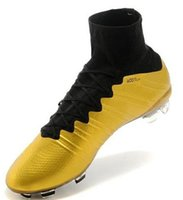Wholesale New Arrival Men Soccer Cleats Mercurial Superfly FG Glod Black Soccer Shoes Football Boots High Cut Sneakers For Men