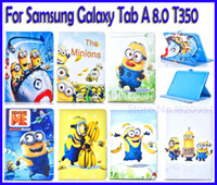 banana stands - For Super Cute Despicable Me Minions and Bananas Leather For Samsung Galaxy Tab A T350 Case Stand Cover With a free Gift