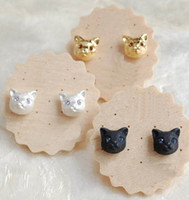 Wholesale Hot Best price Fashion Cute Cat Earrings Double Side Shining cat Earrings Big Pearl Earrings