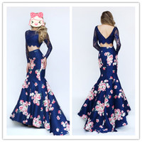 free shipping - Royal Blue Lace Long Sleeves Floral Print Mermaid Two Pieces Fashion Evening Dresses E0158