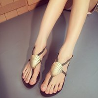 shell sandal - 2015 summer sandals Fashion shell buckles genuine leather cut out women sandal flat
