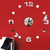 abstract wall clock black - Watches and Clocks Wall Clock Creative Wall Stickers Mirror Stickers d Stereo Digital Clock Bird Leaves Wc