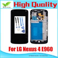 nexus 4 - 1pcs High Quality LCD screen with touch digitizer full Assembly with frame For LG Nexus E960 LCD Screen Assmebly with tools Free Ship