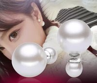 Wholesale 925 Sterling Silver Freshwater Pearl Big and Small Both Sides Luxury Stud Earring For Women