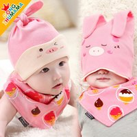 Unisex Spring / Autumn Ear Muff New Comfort Cartoon Baby Toddlers Cotton Sleep Cap Headwear hat Waterproof bibs sets Infant towels Mult-color Free&Drop Shipping