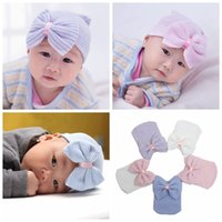beanie babies hair - Free DHL Infant Bow Hat Newborn Baby Hat Toddler Beanie Hat Warm Winter Baby Girls Boys Cotton Kids Stripe Hat Hair Accessories