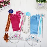 Wholesale Retail set Elsa Anna Snow Magic Wand Christmas Gift set Magic Wand Rhinestone Hair Crown Glove Hair Braid Girls Gift