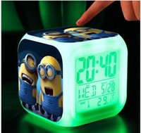 Wholesale Hypnotic LED Colors Digital Alarm Clock Minions despicable me Thermometer Night light electronic toys cartoon kid toys