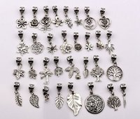 charms - Hot Sale Antique silver mixed flowers trees leaves Dangle Beads Fit European Charm Bracelet style p17