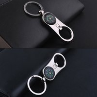Wholesale 2016 Fashion Multi function Compass Bottle Opener Key Ring Creative Keychains Polished Chrome Silver Sweet Christmas valentines Day Gifts