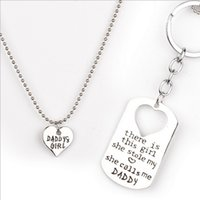 Wholesale There is this gIrl she Stole My Heart She Calls Me Daddy Mommy Trendy Family Love Heart Keychain Necklace Tag Creative NEW Gifts