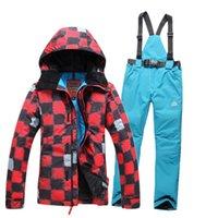 Wholesale ski suit set female monoboard ski suit Women windproof waterproof skiing clothing stylish plaid pattern