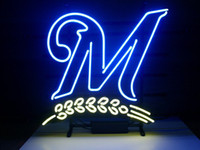 beer brewers - NEW MILWAUKEE BREWERS BASEBALL REAL NEON LIGHT BEER BAR PUB SIGN C206