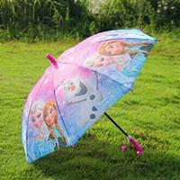 Wholesale Children Umbrella Elsa Anna Olaf Rain and Sun Proof Umbrella Colorful Cute Cartoon Frozen Umbrella cm Series DHL
