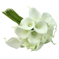 Bulk Flower artificial wedding bouquets - flowers artificial flower bouquet wedding bouquet flowers Calla Lily Bridal Wedding Party Decor Bouquet heads Latex Touch Flower Bunch