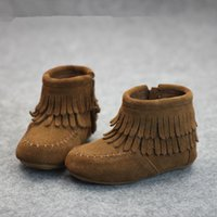 baby with muscles - retail kids suede Leather Autumn Winter Tassel Boots baby Warm Leather Fringe shoes Girls Tassel Boots colors styles