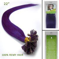 Wholesale 22 Straight Keratin Nail U Tip Remy Human Hair Extension Strands g purple