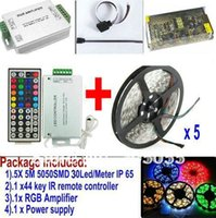 Cheap 25M 5050 SMD RGB 30LEDs M LED Strip light 5 x5M Waterproof IP65+44key remote Controller+12v 15A power supply+RGB AMPLIFIER+CABLE