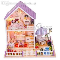 Wholesale New Diy Wooden Doll house Miniatura D Puzzle Model Kits Dollhouses Miniature Toys House Birthday Christmas Gift