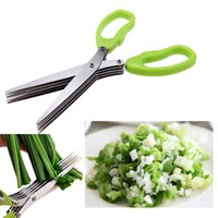 bamboo cutting tools - Multi functional Cooking Tools Stainless Steel Kitchen Knives Layers Scissors Sushi Shredded Scallion Cut Herb Spices Scissors