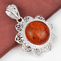 Wholesale 3 Pieces Crystal Round Amber Gemstone Sterling Silver USA Israel Wedding Engagement Pendants Weddings Jewelry