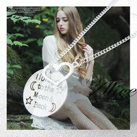 Wholesale 2015 Necklace for gifts I love you to the moon and back Necklace Silver necklace Jewelry for women Heart necklace