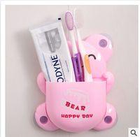 Wholesale Cartoon blue pink brown bear multifunction sucker toothbrush holder