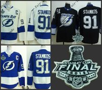 Wholesale New Arrivals tampa bay lightning stamkos white blue black Ice Hockey Jerseys Final Stanley Cup Patch Accept Mix order