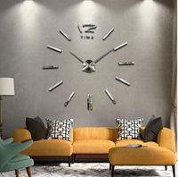 Wholesale Amazing d home decor quartz diy wall clocks horloge watch living room metal Acrylic mirror inch