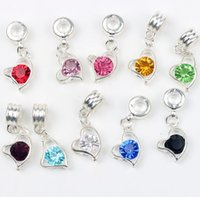 Metals big crystal hearts - MIC Colors X12mm Silver Plated Bail Crystal Heart Charm Big Hole Beads Fit European Metals Bracelets