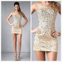 a960 - Cap Sleeves Crystal Stone Short mini Sheath Sheer New Fashion Party Homecoming Dresses a960