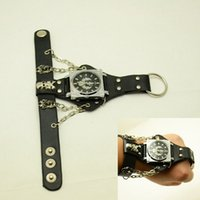 Fashion ring watch - Punk Style Watch Scorpion Wrist Watch With Finger Ring Man Woman Rivet Skull Wristwatch sw215