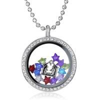Wholesale Silver Heart magnetic glass floating charm locket Zinc Alloy chains included for free free ship