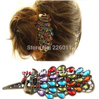 Wholesale 2016 fashion Hair Clip Retro Rhinestones Crystal Hollow Peacock Decoration Hairpin Metal Hair Jewelry