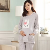 Wholesale Pregnant women nursing mothers fitted out clothes Xia Chunqiu cotton pajamas month of autumn and winter clothes large size Buru
