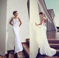 Wholesale BM Famous Designer Julie Vino Summer Beach Wedding Dresses Sheath White Spaghetti Straps White With Open Back Long Sexy Bridal Gowns