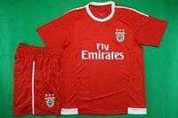 soccer uniforms - New Benfica home red jersey soccer men short sleeve brand new football kit athletic outdoor sport training uniform soccer set