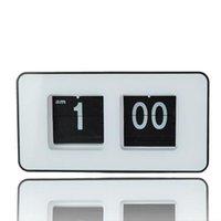 Wholesale Simple Modern Retro Auto Flip Number Desk Wall Clock Black