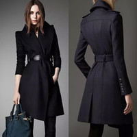 Wholesale 2014 Fall Winter New Arrival Fashion Outerwear Coats Black Long Sleeve V Neck Heavy Womens Trench Coats Blends Tartan Spring Suits