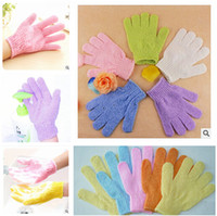 bathe bathroom products - DHL Exfoliating Bath Glove Five fingers Bath Gloves bathroom accessories nylon bath gloves Bathing supplies bath products m0531