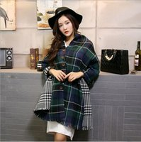 Wholesale new long oversize blanket plaid scarf Button warm wraps imitation cashmere shawl Autumn and winter