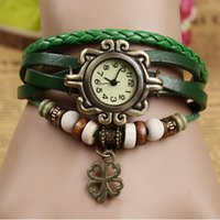 Wholesale High Quality Women Genuine Leather Vine Watch Clover Pendant bracelet Wristwatches For Xmas Gift jewelry
